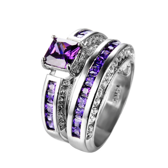 square purple bridal ring sets for women wedding jewelry 14kt white gold filled cz double crystal - Purple Wedding Rings
