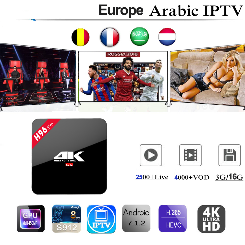 H96 Pro Android 7.1 Smart TV Box With IPTV subscription 3/6/12 Months Italy Belgium Germany UK Spain Arabic Adult 2500+ Channels недорого