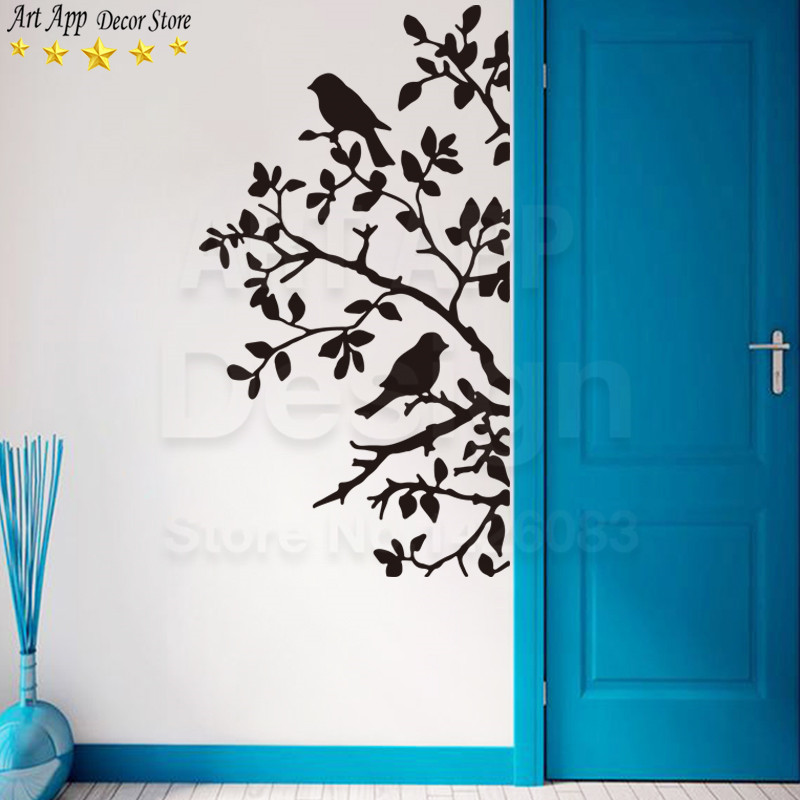 New Art Design Birds Home Decoration Vinyl Tree Leaves Wall Sticker Removable Cheap House Decor PVC Swallow Animal Decals