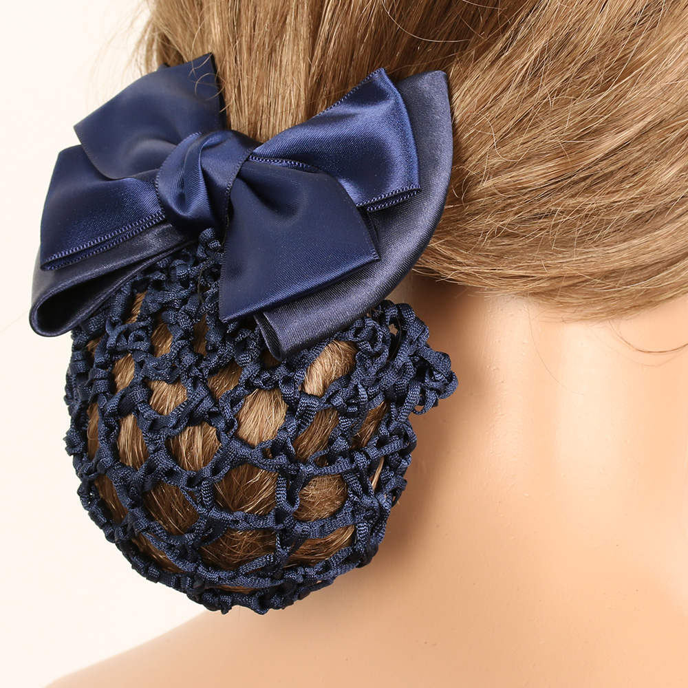 Satin Bow Barrette Stylish Floral Lace Official Lady Hair Clip Cover Net Tulle Bowknot Bun Snood Women Hairgrip Headband Hairnet
