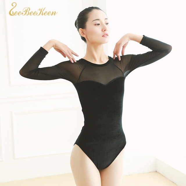 Ballet Leotards For Adult Sexy Mesh Stitching Black Red Velvet Long Sleeve Gymnastics Leotard Ballet Dance