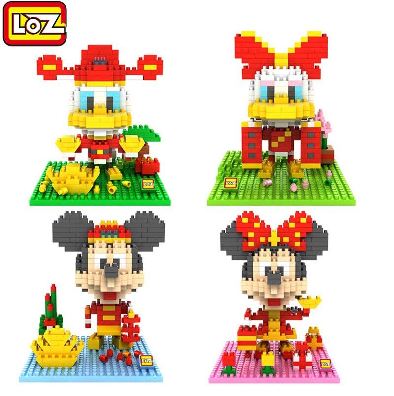 LOZ игрушки мультфильм Микки Семья алмаз Nano блоки Минни Дональд Дейзи Дак строительные блоки фигурку детские игрушки развивающие