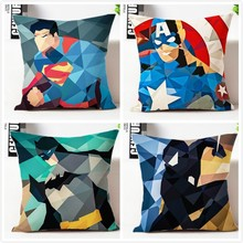Batman pillow cover, Avengers superman Captain America spiderman superhero throw pillow case pillowcase wholesale
