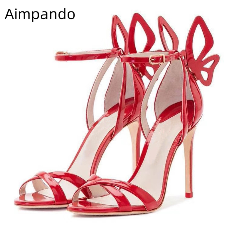 Individual Butterfly Wing Shaped Gladiator Sandals Women Sexy Red Patent Leather Open Toe Thin High Heel Summer Shoes WomanIndividual Butterfly Wing Shaped Gladiator Sandals Women Sexy Red Patent Leather Open Toe Thin High Heel Summer Shoes Woman