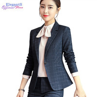 5597300cfb Stylish Plaid Pant Suits Women Temperament Office Lady Business Work Pants  Blazer Set Fashion Jacket Trousers