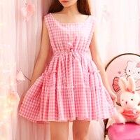 핑크 노란색 여름 격자 무늬 Sleevele 드레스 패션