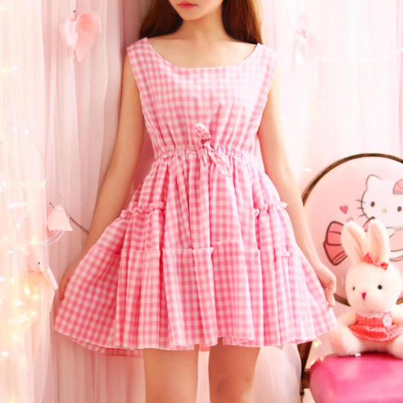 Pink Yellow Summer Little Plaid Sleevele Dress Fashion Kawaii Cute Lovely Korea Pleated A-line Lady 2017 Cotton Short Dresses