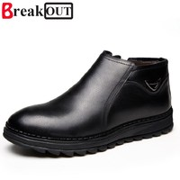 High Quality New Fashion Men Winter Boots Men Snow Boots Warm Plush High Top Genuine Leather