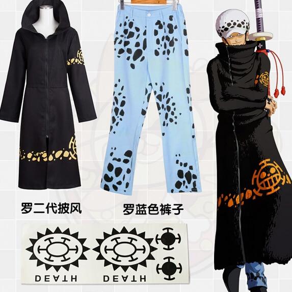 Stock Trafalgar D. Water Law Surgeon of Death Anime One Piece Cosplay Costume Trafalgar Law 2 years later Clock Pants Tattoo
