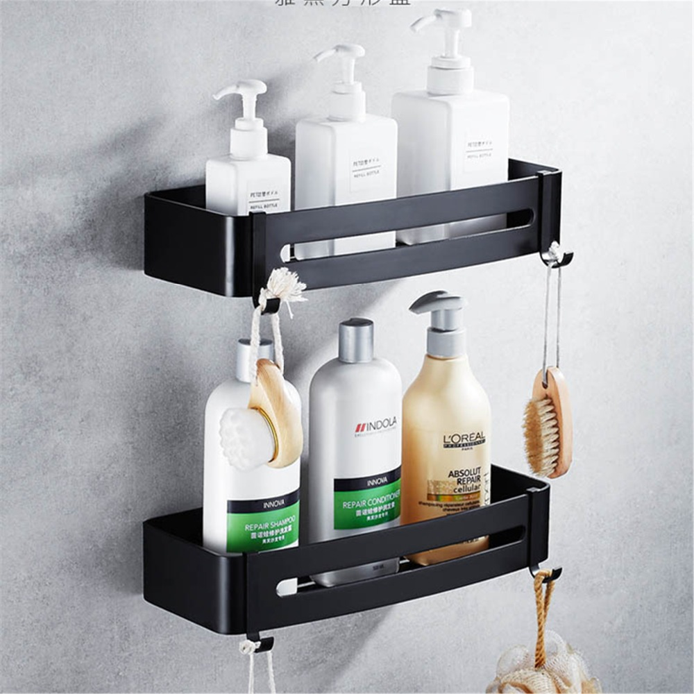Space aluminum Black Bathroom Shelves Wall Mount Corner Shower Rack Shampoo Storage Rack Bathroom Accessories a1 hotel bathroom washbasin wall hanging solid thickening rack space aluminum wall hanging storage rack wx7201648