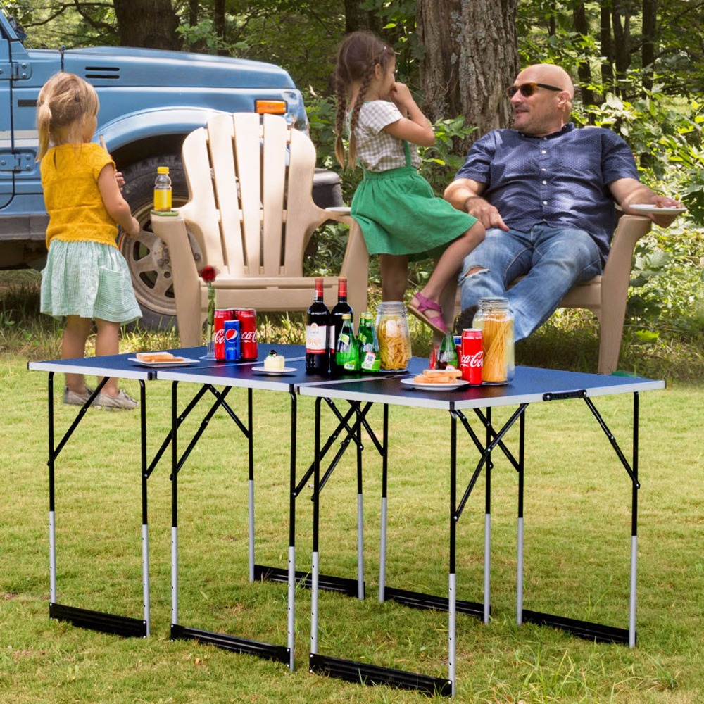 Giantex 3PCS Folding Outdoor Camping Picnic Table Set Height Adjustable Indoor Home Furniture OP3557 недорого