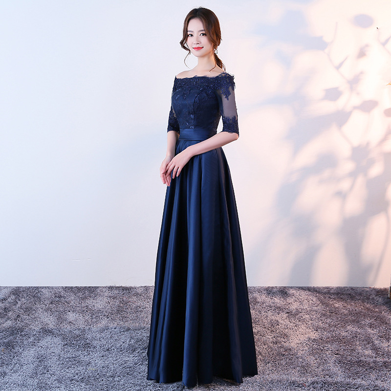 New Tulle Embroidery Crystal Half Sleeve a Line Navy Blue   prom     dresses   long plus size vestidos de baile cheaper