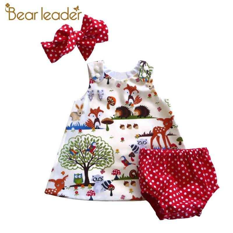 Bärenführer Baby Mädchen Kleidung Sets 2018 Neue Marke Drei Stück Stellt Kurze Hosen + Haarband + Kleid Druck Patten Für Baby 6-24 Mt