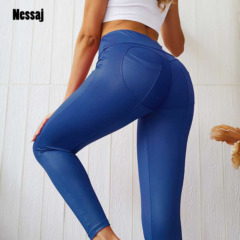Nessaj Fashion Sexy Hip   Leggings   Women Push Up Leggins Mujer Patchwork Fitness Long Pants Femme Sportswear   Leggings   With Pocket