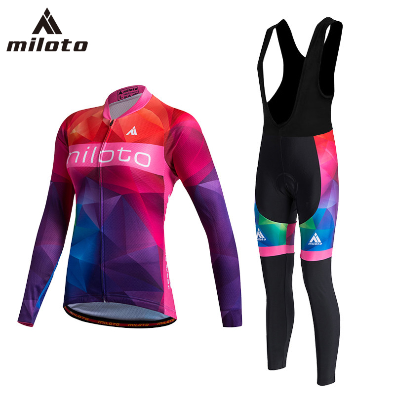 MILOTO Cycling Jersey Sets For Women's /2018 Ropa Ciclismo Mujer Invierno Long Sleeve Winter Cycling Clothing Bike Jerseys Suits ropa ciclismo mujer real ropa ciclismo invierno cycling clothing riding suit long 2017 new summer sleeved men s bicycle eagle