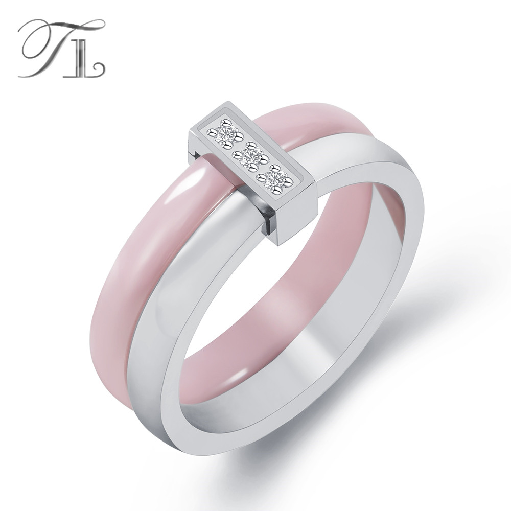 TL Pink Ceramic Ring For Women Two Layers Stainless Steel Silver Inlaid Zircon Thin Rings Unique Design Wedding Engagement Rings