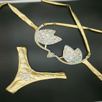 2019 venus vacation diamond bikini set new women swimwear crystal rhinestone bathing suit new design sexy brazilian swimsuit 5