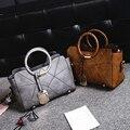 Moda bolso de las mujeres bolsa grande de hombro portátil más nuevo patchwork hilo de coser bolsa de mensajero oficial