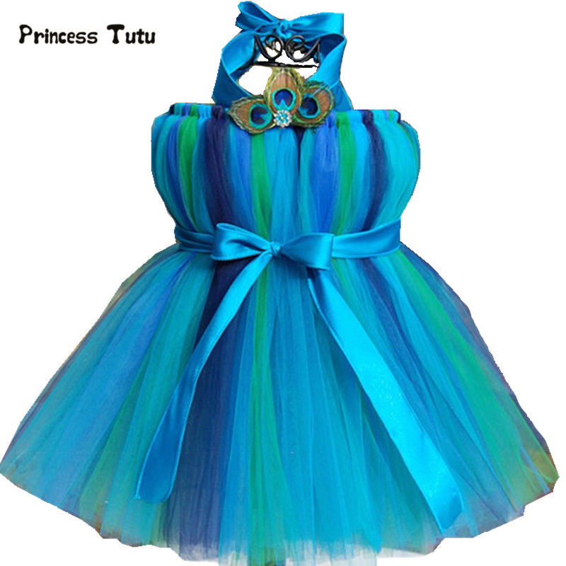 Handmade Baby Girls Peacock Tutu Dress Tulle Flower Girl Dresses Children Kids Girls Party Wedding Performance Dresses  1-14Year baby cartoon flower pattern dress high quality tulle tutu clothes girl christmas costume girl dresses for party and wedding 2017