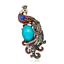 Rinhoo Natural animals Chinese bird Peacock Brooches For women Blue stone jewelry accessories girl brooch pins(China)