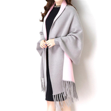 2017 Autumn Winter Causal Fashion New Loose Tassel Knitted Cashmere Batwing Women Long Thick Poncho Capes Duplex Shawl Cardigan