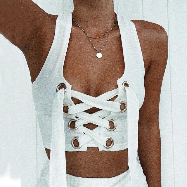 15c29173143559 Women Sexy Bralette White Cropped Tank Top Fashion 2018 Tumblr Female  Camisole Sleeveless Bandage Lace Up Top Haut Femme