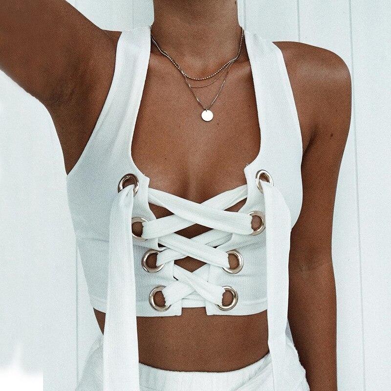 Women Sexy Bralette White Cropped   Tank     Top   Fashion 2018 Tumblr Female Camisole Sleeveless Bandage Lace Up   Top   Haut Femme