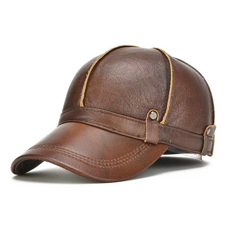 cb31b52e1f3  NORTHWOOD High Quality Cowhide Genuine Leather Baseball Cap Men Winter  Gorras Para Hombre Snapback Casquette Winter Trucker Cap-in Baseball Caps  from ...