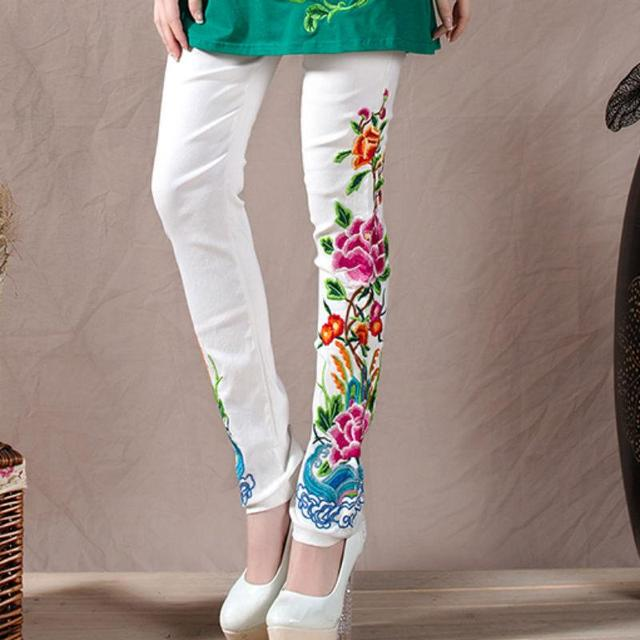 47ed282ab79c8 New 2017 Spring Autumn Casual Skinny Chinese Style Embroidered Pants Lulu  Leggings Women Plus Size SY650