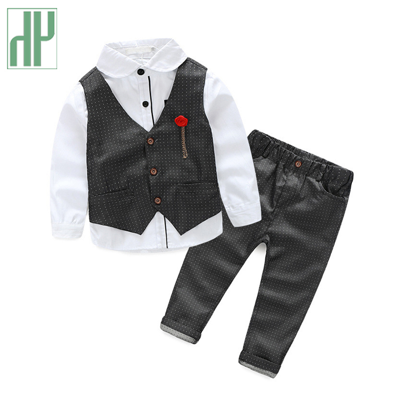 HH boutique Kids clothes suit 3pcs toddler boys formal wedding clothing full set gentleman Plaid korean children clothing boys clothes sets formal gentleman suit 3pcs set children clothing set kids clothes for baby birthday wedding party
