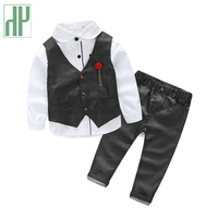 Hh бутик дети комплект одежды 3 шт. для маленьких мальчиков официальная одежда для свадьбы полный комплект джентльмена в клетку в Корейском с...