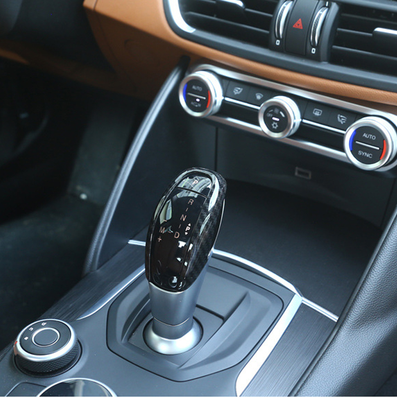 Image 4 - Car Styling Carbon Fiber Texture Gear Shift Knob Head Frame Trim Cover for Alfa Romeo Giulia Stelvio 2017 only-in Interior Mouldings from Automobiles & Motorcycles