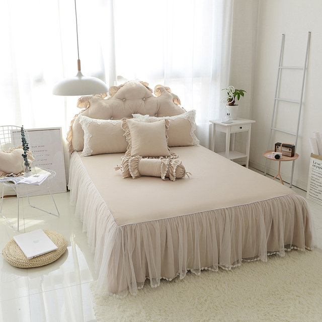 Lace cotton princess bed skirt twin full queen king size kids adults bedsheet bed cover bed linen pillowcases couverture de lit