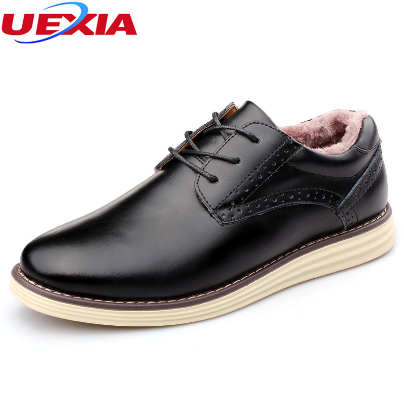 UEXIA New Super Warm Wedding Business Man Lace-up Flats Shoes Fashion PU Leather Casual Shoes Plush Warm Slip-On Mens Rain Boot