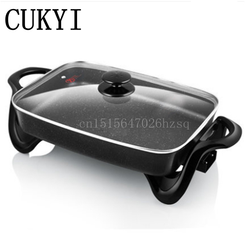 CUKYI Multi function household Electric Grills & Electric Griddles Hot Pot BBQ machine non-stick pan cukyi household electric multi function cooker 220v stainless steel colorful stew cook steam machine 5 in 1