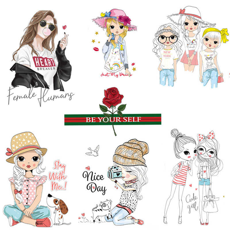 Girls Flower Iron-on Transfer Patches For Clothing Sticker Printing Stripe