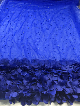 High Quality French Lace Fabric Tulle Net Lace Fabric Bridal Party Dress Embroidery Voile Lace Fabric with Beaded YB001
