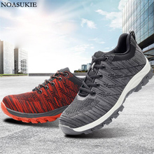 Men Safety Shoes Breathable Mesh Lightweight Work Shoes Casual Construction Anti-Smashing Puncture Steel Toe Shoes sitaile breathable mesh steel toe safety shoes men s outdoor anti smashing men light puncture proof comfortable work shoes boot