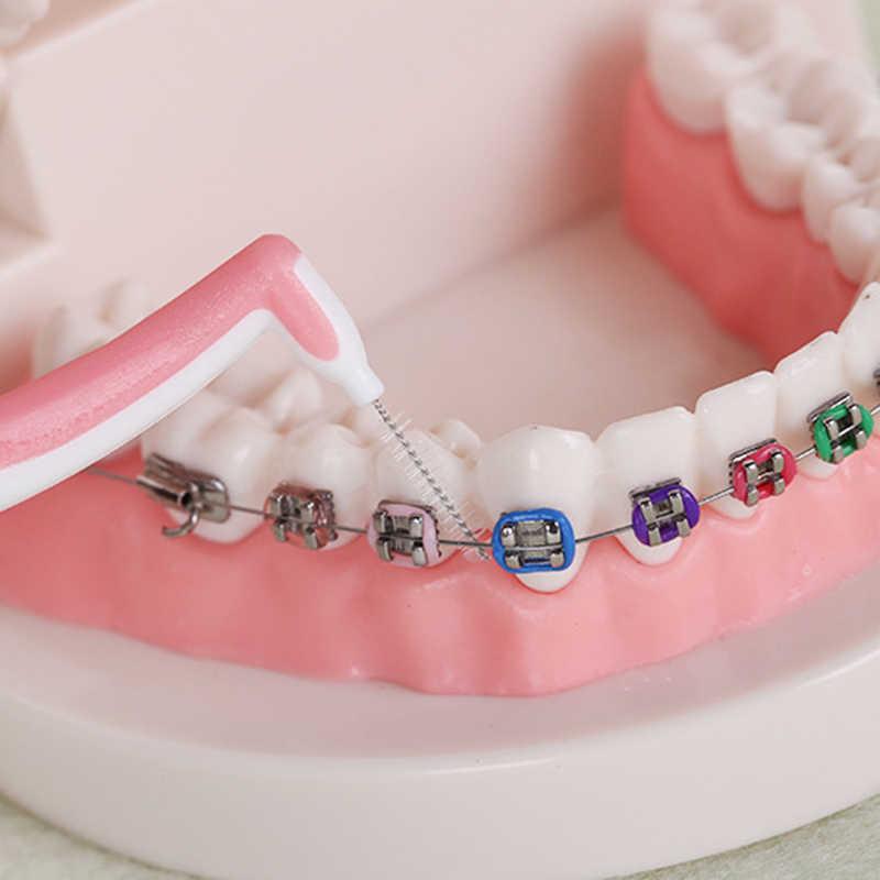 4/1 pz 1.2/1/0.8/0.7mm scovolino interdentale Dentale Fili e cotoni per ricamo Dente Pennello Gap Pulizia dei denti stuzzicadenti Manico Lungo Cleaner Igiene orale