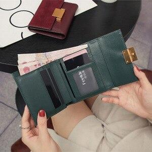 Image 5 - 財布女性細かい擦れ分割レザーミニ財布idカードホルダー財布財布グリーン革の財布クラッチ女性