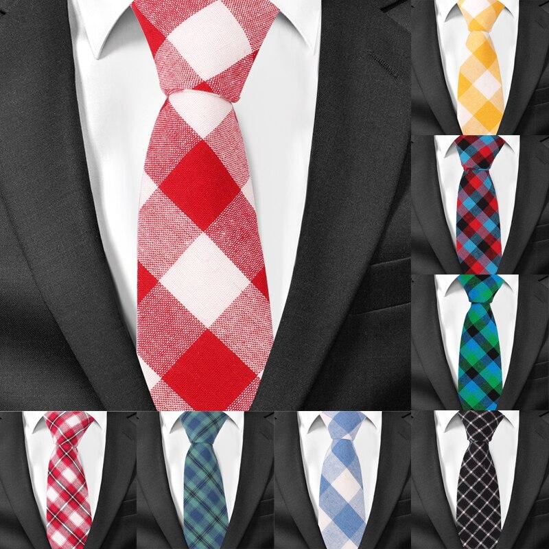 Men Tie Plaid Cotton Neckties For Men Casual Striped Slim Ties For Wedding Party 6cm Width Skinny Groom Neck Ties Gravatas