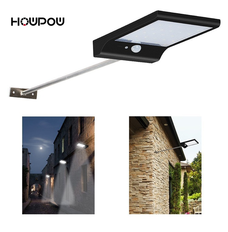 HOWPOW 36LED Solar Light Three Modes Black White Waterproof Outdoor Garden Wall Fence Lamp With Mounting Pole Or NotHOWPOW 36LED Solar Light Three Modes Black White Waterproof Outdoor Garden Wall Fence Lamp With Mounting Pole Or Not