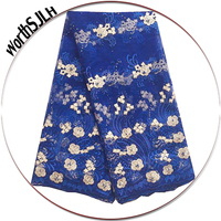 Nigerian Beaded Royal Blue Lace Fabric Latest Africa Lace High Quality Lace Fabric Purple Tulle Mesh Net Cord Lace In 2018
