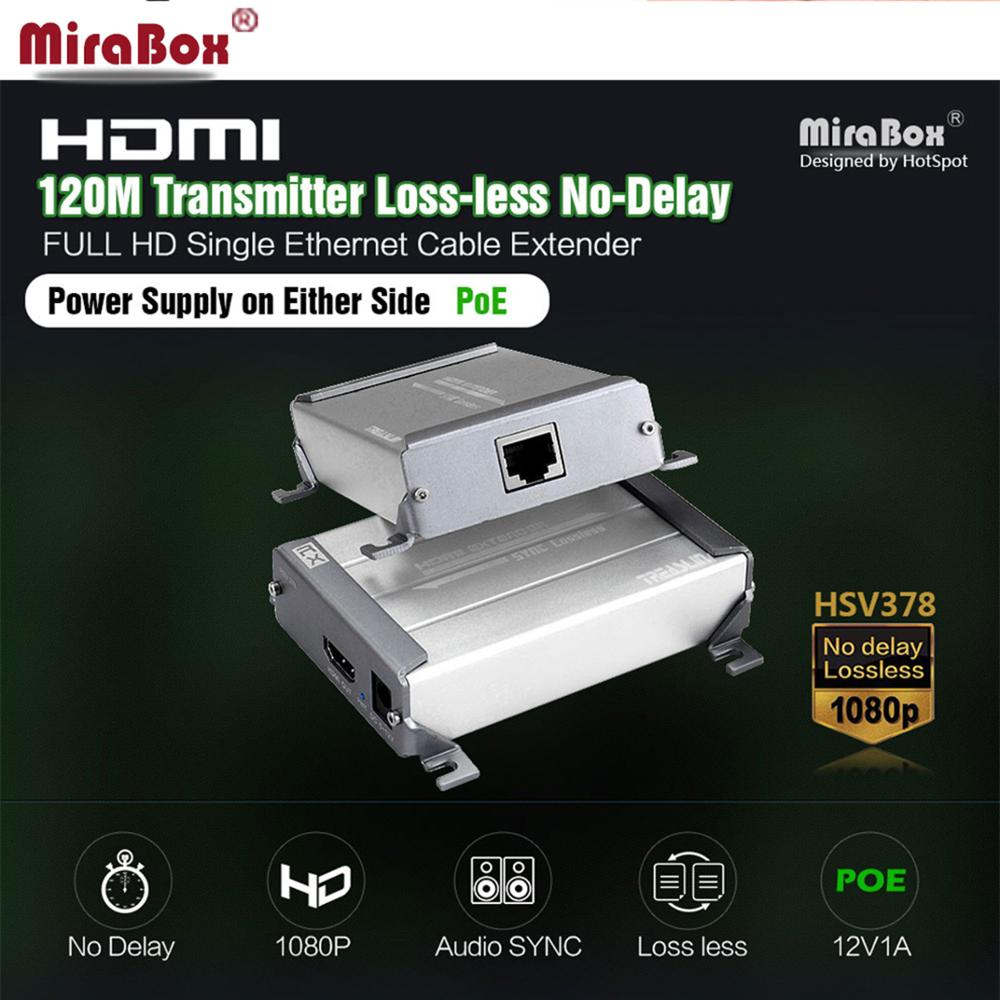 MiraBox HDMI POE Extender Support 1080p Lossless And no Time Delay 100m 120m Via cat5/cat5e/cat6/cat6e Rj45 HDMI Transmitter mirabox usb hdmi kvm extender up to 80m over cat5 cat5e cat6 cat6e lan rj45 single cable lossless non delay with mouse control
