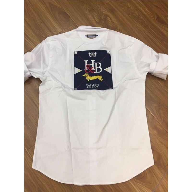 Harmont Blaine men's full sleeve shirt Chemise Masculine Social Brand design tops Business casual embroiery Shirt