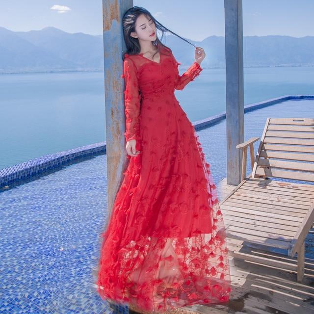 Vestidos Women Dresses Spring 2017 Fashion Flower Dress Net Yarn Y Long Sleeves Beach