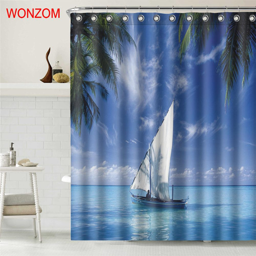 WONZOM Sailing Boat Shower Curtains with 12 Hooks For Bathroom Decor Modern Landscape Sea Bath Waterproof Curtain Gift in Shower Curtains from Home Garden
