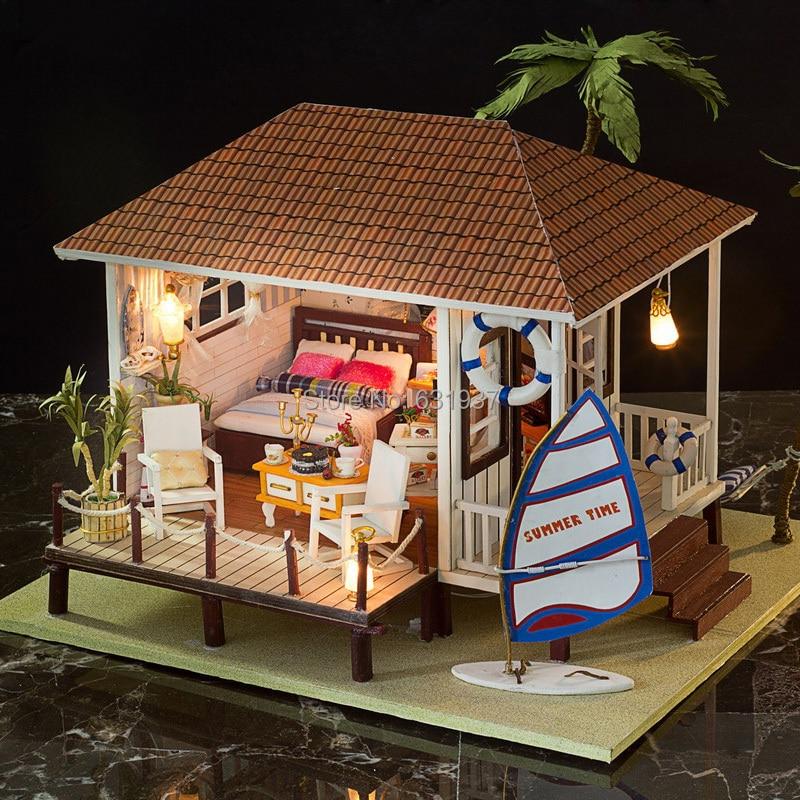 3d rompecabezas de madera casa de mu ecas en miniatura de madera hechos a mano mu ecas juguetes - Casas en miniatura de madera ...
