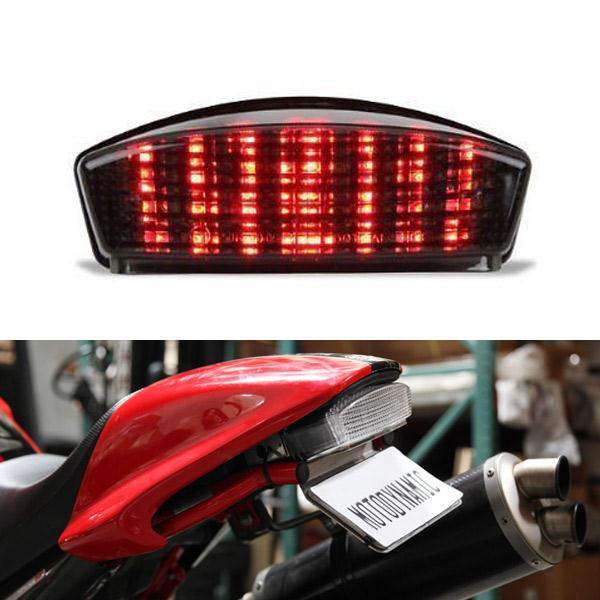 ABS Da Motocicleta LED Tail Light Correndo Brake Turn Signal Lâmpada de Luz Integrado Para Ducati Monster 400 600 620 695 750