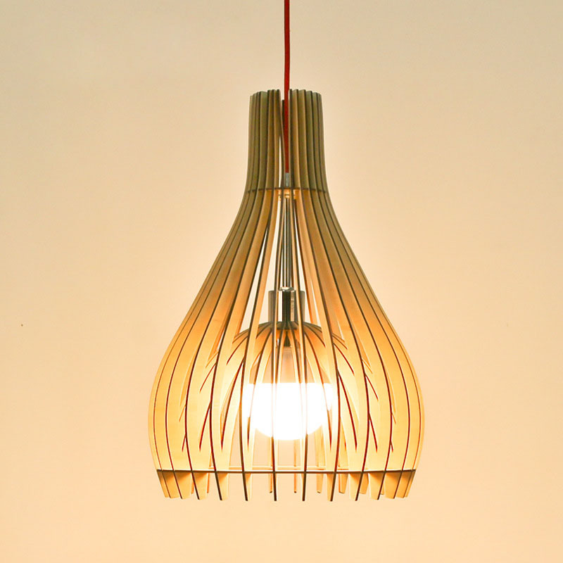 Modern Pendant Wood Lighting Oak Light Red Color Wire E27 Socket Lamp Holder Hanging Lights Fixture No Bulbs L33 In From